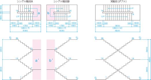 X階段とシングル階段2基の比較