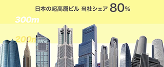 日本の超高層ビル 当社シェア80%